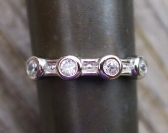 Vintage 925 Sterling Silver and CZ Wedding RingVintage wedding ring   Etsy. Etsy Vintage Wedding Rings. Home Design Ideas