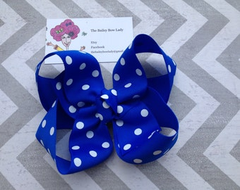 Blue and White Polka Dot Boutique Hair Bow