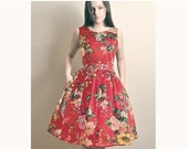 JUNE SALE Red Floral Day dress,  Made to Order