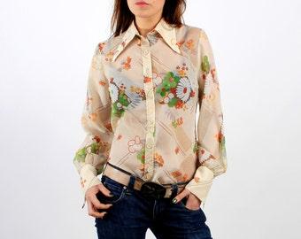 Vintage 70s Floral Transparent Shirt Size 40