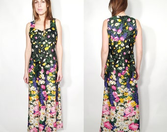 Vintage 60s Floral Maxi Long Sleeveless Dress Delden Size 44