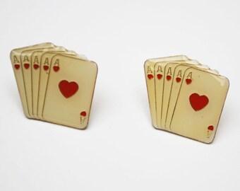 Poker Card earrings White enamel Ace of Hearts enamel pierced stud earrings Playing cards