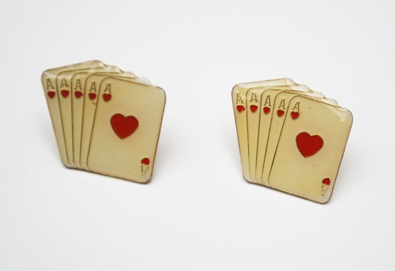 Poker Card earrings White enamel Ace of Hearts enamel pierced stud earrings Playing cards