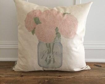 Peonies Mason Jar Pillow Cover