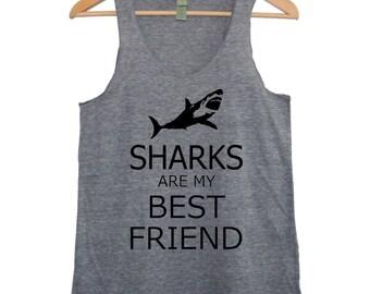 Sharks are my Best Friend Womens silkscreen TAnk Top t shirt tee screenprint