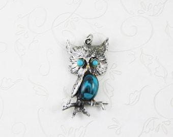 Vintage Owl Jewelry, Vintage Jewelry, Owl Pendant, Jewelry, Vintage, Faux Turquoise, Vintage Owl, Bird Pendant, Bird Jewelry, OWL NECKLACE