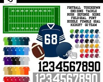 Digital Football Clipart-Football Team-Football-Field-Football Jersey-Helmet-Team Colors-Digital Scrapbook Element-Instant Download Clip Art