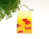 Poppies painting Floral art Wooden wall art Original poppy painting Poppy flower art Wood wall art painting Flower painting Red poppy art