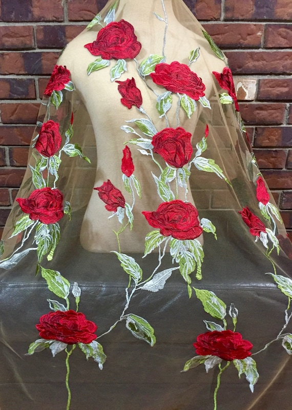 Lace fabric red roses embroidered nude by