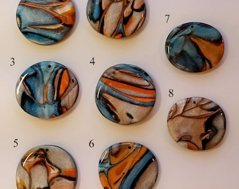 Polymer Clay Pendant Freeform Design Choice of 8 Styles Cosmos Series