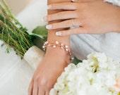 Rose Gold Bridal Bracelet - Rose Gold Bridal Jewelry - Crystal Bracelet - Wired Bracelet - Bridal Bracelet - Crystal Pearl Bridal Bracelet