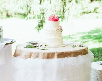 Tulle Ruffled Burlap Tablecloth (available in custom & standard sizes)