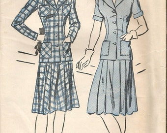 """Vintage 1940's WWII Era Advance 2886 Two-Piece Suit Pleated Skirt Sewing Pattern Size 14 Bust 32"""" UNCUT"""