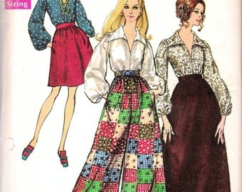 Vintage 1969 Simplicity 8550 Retro Skirt in Two Lengths, Pants & Blouse Sewing Pattern Size 8 Bust 31 1/2""
