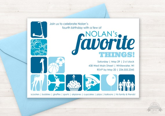 Favorite Things Birthday Party Invitation Custom Printable, Few of My Favorite Things Party Theme, Boy Birthday Party, Girl Birthday Invite