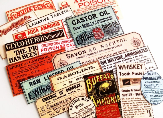 Tiny Apothecary Labels - 18 Vintage-Inspired Apothecary Labels, Antique Medicine Labels, Drug Store Bottle Labels, Sticker Pack