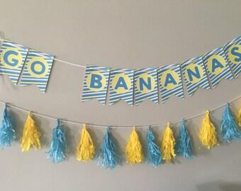 Go Bananas Birthday Banner, Banana Split Bar Banner