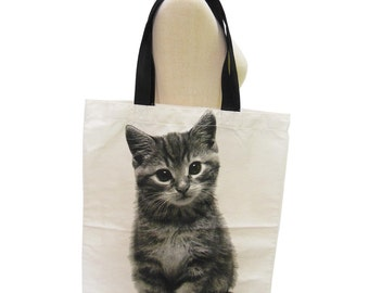 Cat Canvas Bag Kitty Cat Animal Cute Fashion Gift Tote Bag Screen Print Handmade