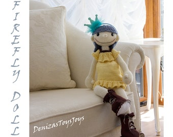 FireFly Doll. - pdf knitting pattern. Knitted in the round.