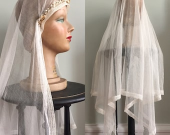 c. 1920s Wax Flower Wedding Veil - 20s Flower Wreath Crown with Netting