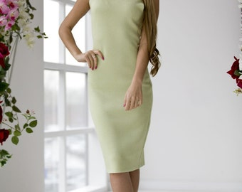 "Classic knitted dress ""Olive Branch"" made of viscose, stylish image for each day, light olive color"