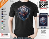 T Shirt of my Epic Hylian Shield Legend of Zelda inspired painting art clothing design for Men and Women by Barrett Biggers