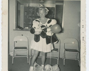 Vintage Snapshot Photo: Woman with Stuffed Pandas, 1956 (68488)