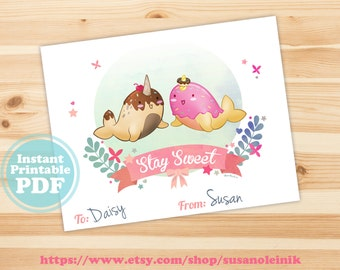 Instant Download: Printable Stay Sweet Narwhals Classroom Valentines - digital download - PDF