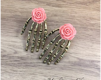Day of the Dead Gothic Skeleton Vintage Hands and Roses.