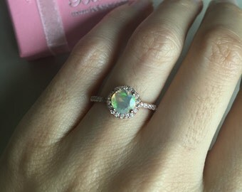 Rose Gold Opal Engagement Ring- Rose Gold Ring-Halo Ring- Promise Ring- Round Stone Ring- Anniversary Ring- Ring for Her- October Birthstone