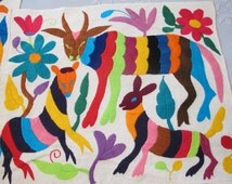 Vintage OTOMI Mexican Embroidery Animal Textile Panel/ Mexican Folk Art/ Larger Size/ ANIMALS Colorful Embroidery Tribal Otomi Needle Art