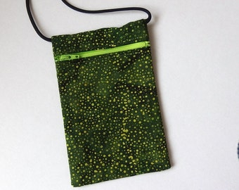 Pouch Zip Bag Green BATIK Fabric.  Great for walkers, markets, travel.  Cell Phone Pouch. Small fabric coin purse. green spots.