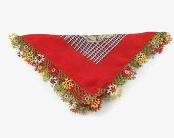 red summer scarf, floral summer scarf, summer scarf, floral scarf, turkish oya scarf, boho head scarf, summer floral scarf, crochet headband