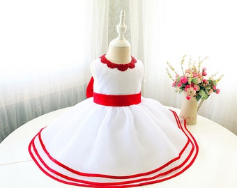 White lower Girl Dress with Red Sash, Sleeveless Baby Girl Pageant Dress, Infant Easter Dress, Toddler Girl Birthday Dress,  PD103-2