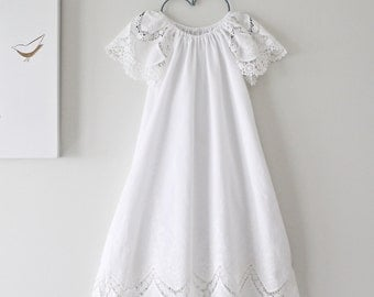 Baptism Dress-Soft White Lace Cotton Vintage Christening Dress-Traditional Gown-Naming Ceremony Dress-Children Clothing by Chasing Mini