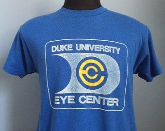 80s Vintage Duke University Blue Devils Eye Center T-Shirt - LARGE