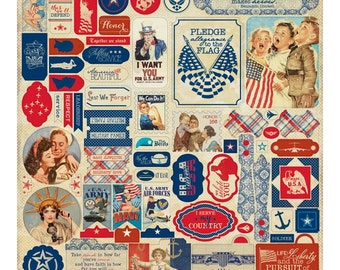 Vintage Military CARD STOCK, Military Stickers, Patriotic Card Stock, Patriotic Stickers, WWII Images, Authentique Honor, Vintage Cut Outs