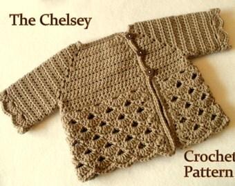 Crochet Pattern Baby Girl's Sweater Pattern Sizes 0 - 12 Months Baby Sweater Baby Girl Pattern Baby Girl Sweater Pattern Crochet Pattern