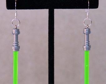 Star Wars Jewelry, STERLING SILVER Hooks, Lego® Light Saber Earrings, Green Yoda Lightsaber Earrings, Hypoallergenic Sensitive Ears