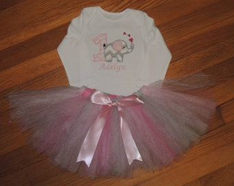 Elephant Love Personalized Baby Girl's First Birthday Bodysuit Tutu Set 1st (2nd also available)