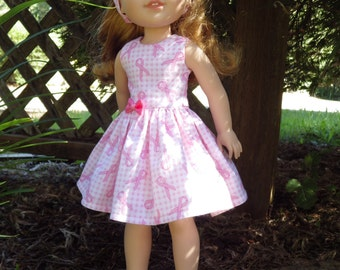 Pink Ribbon Dress for 14.5 inch Wellie Wishers Dolls