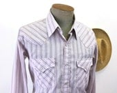 1980s Vintage Lavender Ely Cattleman Western Shirt Men's Cowboy Style Striped Long Sleeve Pearl Snap Shirt - SIZE LARGE