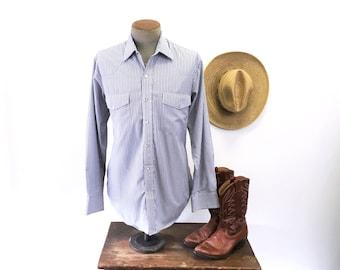 1980s Vintage Striped Western Shirt Mens Cowboy Style Long Sleeve Pearl Snap Shirt by CRAZY COWBOY - Size MEDIUM