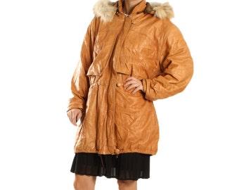 Vintage Cognac Brown Leather Jacket / 80s Leather Coat Fur Leather Parka / Retro Shiny Patent Orange Parka / Womens Size Medium Large