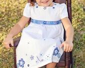Little Girls Dress -  Girls Cotton Dress - Blue and White Toddler Dress