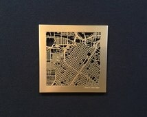 "Houston Map - 6"" Gold"