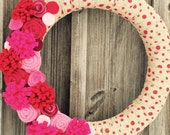 NEW Valentine Wreath/Felt Flowers/Burlap Roses/Red Polka Dot Ribbon/January/February/Gift for Her/Pink/Hearts