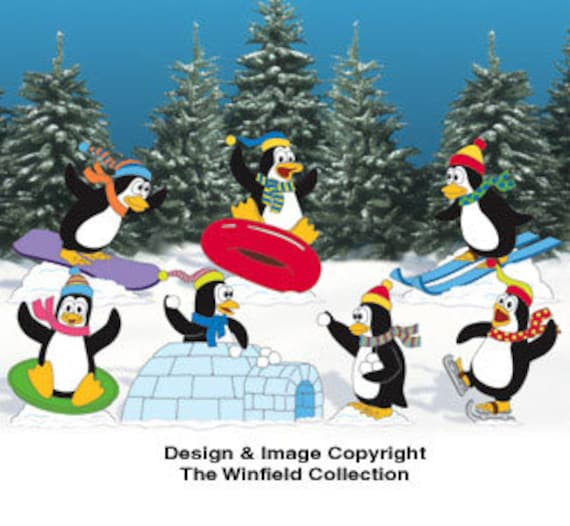 Christmas Carolers Wood Outdoor Yard Art By Chartinisyardart: Christmas Playful Penguins Outdoor Wood Yard By