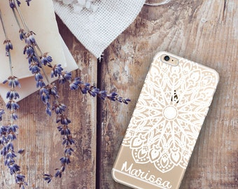 Clear plastic Iphone 6  case with design, Mandala Iphone 6 Plus case clear, Mandala design in white, Monogrammed gifts For Her (1625)
