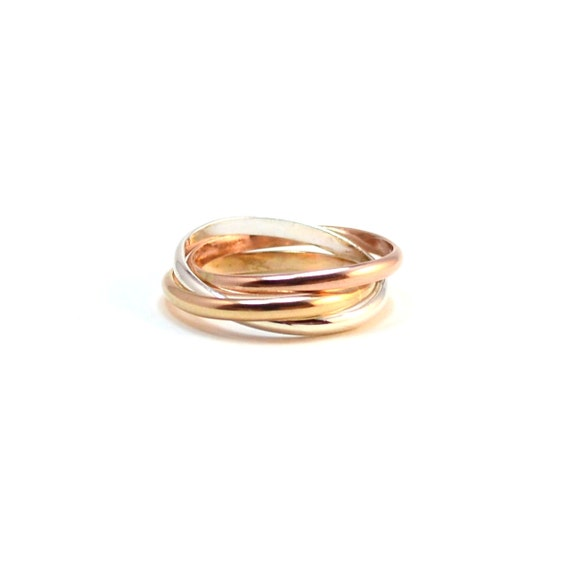 Smooth Interlocking Ring. Tri Tone Rolling Rings. Pink gold, Yellow gold, Sterling Silver